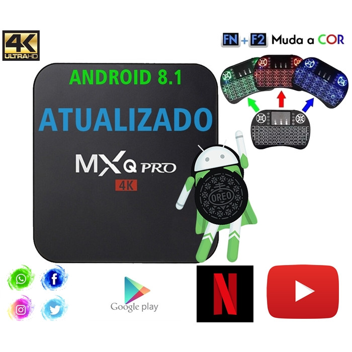 TvBox Conversor Smarttv 3GB Ram 16GB Rom Android 8.1 Atualizado + Mini Teclado Wireless LED