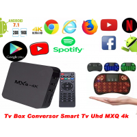 Smart Tv Box Mxq 4k Ultra Hd, 16gb,8gb + Mini Teclado Bluetooth Wifi Wireless Sem Fio Touchpad Preto
