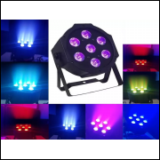 Mini Canhão Refletor - Rgb 7 Leds 8 w - Flat Par Light