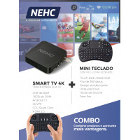 Tv Box Conversor Smart Tv 4k Nehc 16GB 2GB RAM ANDROID 7.1 + Mini Teclado Wireless LED