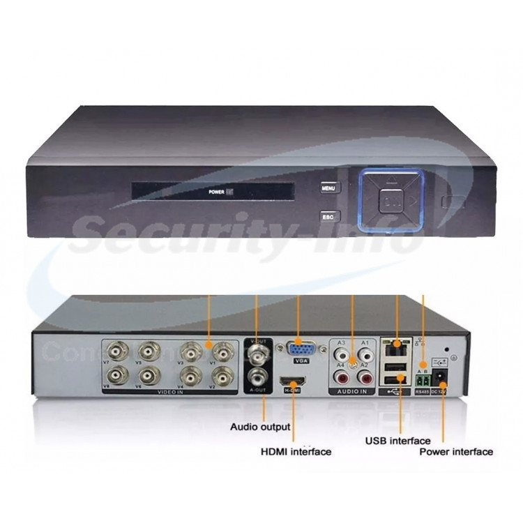 DVR 8 CANAIS 5 IN 1 HÍBRIDO FULL HD