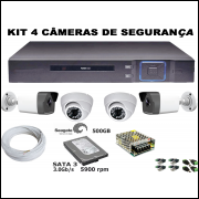 Kit Dvr 4 Canais Full HD + 2 Câmeras Bullet Ferro 4 IN 1 + 2 Câmeras Dome AHD + HD 500GB
