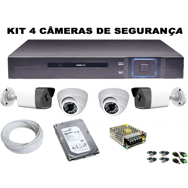 Kit Dvr 4 Canais Full HD + 2 Câmeras Bullet Ferro 4 IN 1 + 2 Câmeras Dome AHD + HD 1TB 3.5 HDD