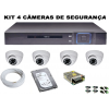 Kit Dvr 4 Canais Full HD + 4 Câmeras Dome AHD + HD 1TB 3.5 HDD + Acessorio