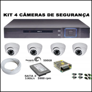 Kit Dvr 4 Canais Full HD + 4 Câmeras Dome AHD + HD 500GB + Acessorio